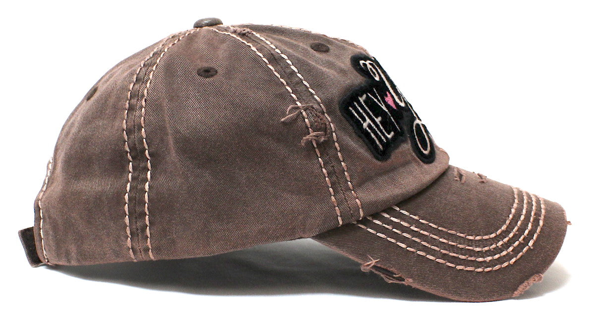 Rustic Bronze Hey Y'all Velvet Patch Emroidery Hat w/Heart Detail - Caps 'N Vintage