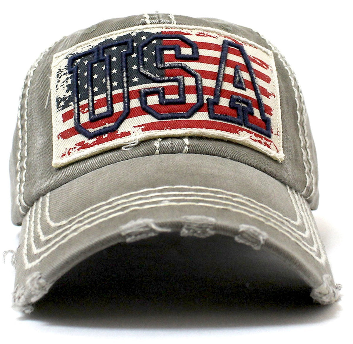 "Vintage Red, White, & Blue Flag Patch Baseball Cap w/ ""USA"" Stitch Embroidery Overlay - Caps 'N Vintage"