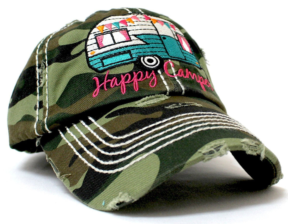 "Army Camo ""Happy Camper"" Distressed Embroidery Hat - Caps 'N Vintage"