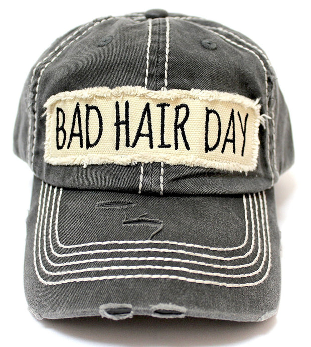 "Black ""BAD HAIR DAY"" Patch Embroidery Vintage Cap - Caps 'N Vintage"