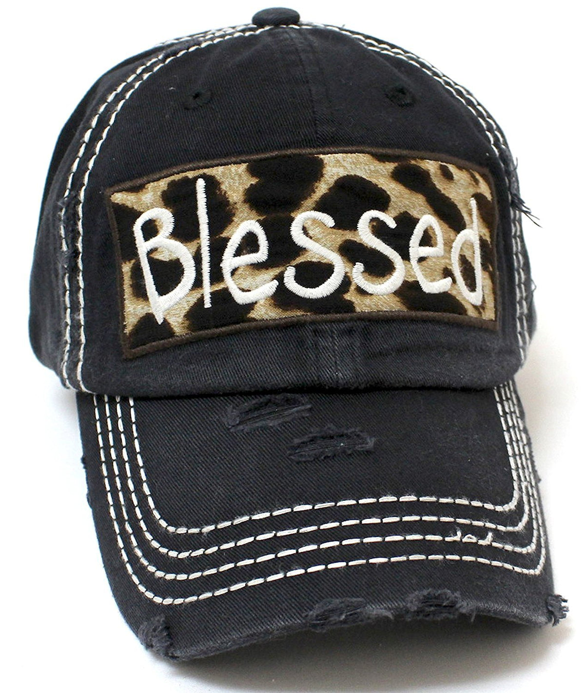 "Copy of BLACK ""BLESSED"" Leopard Patch Embroidery Vintage Hat - Caps 'N Vintage"