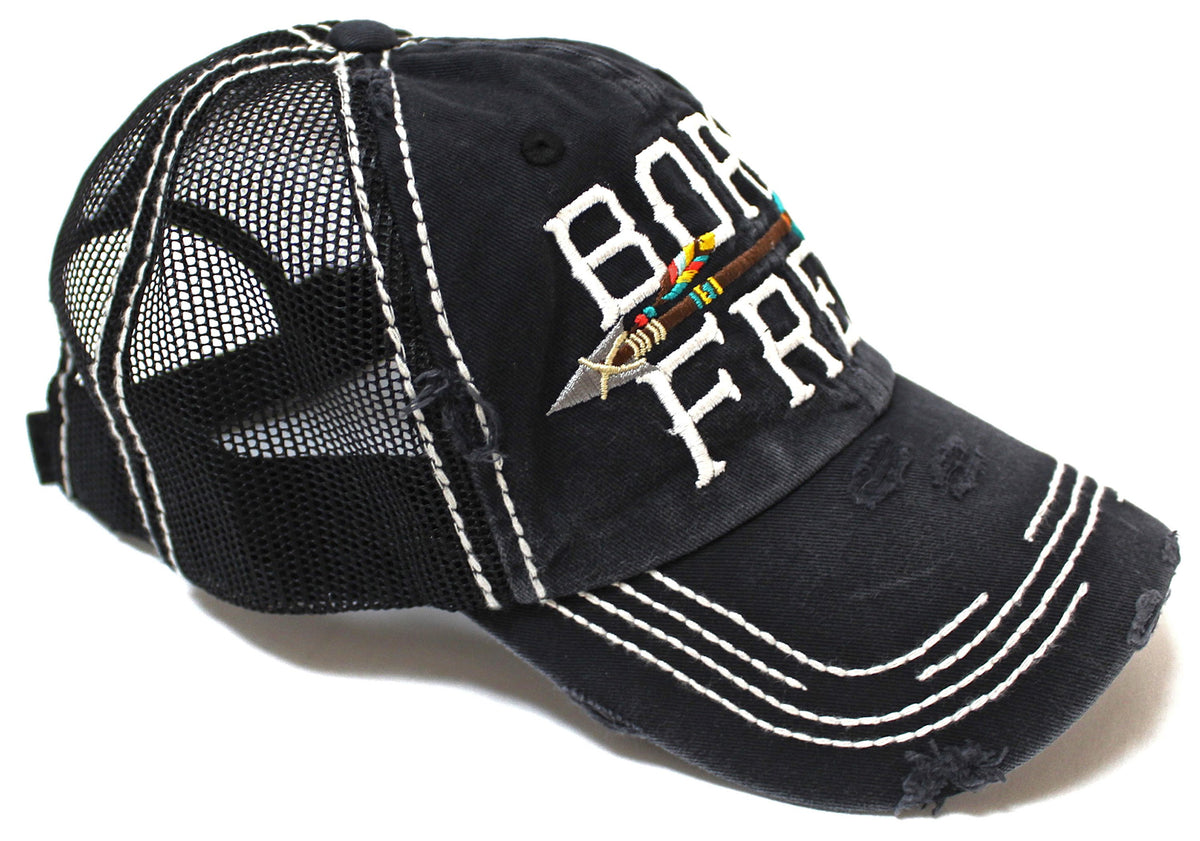 "BLACK ""BORN FREE"" Embroidery Patch Cap, Black Mesh Back Trucker Hat - Caps 'N Vintage"