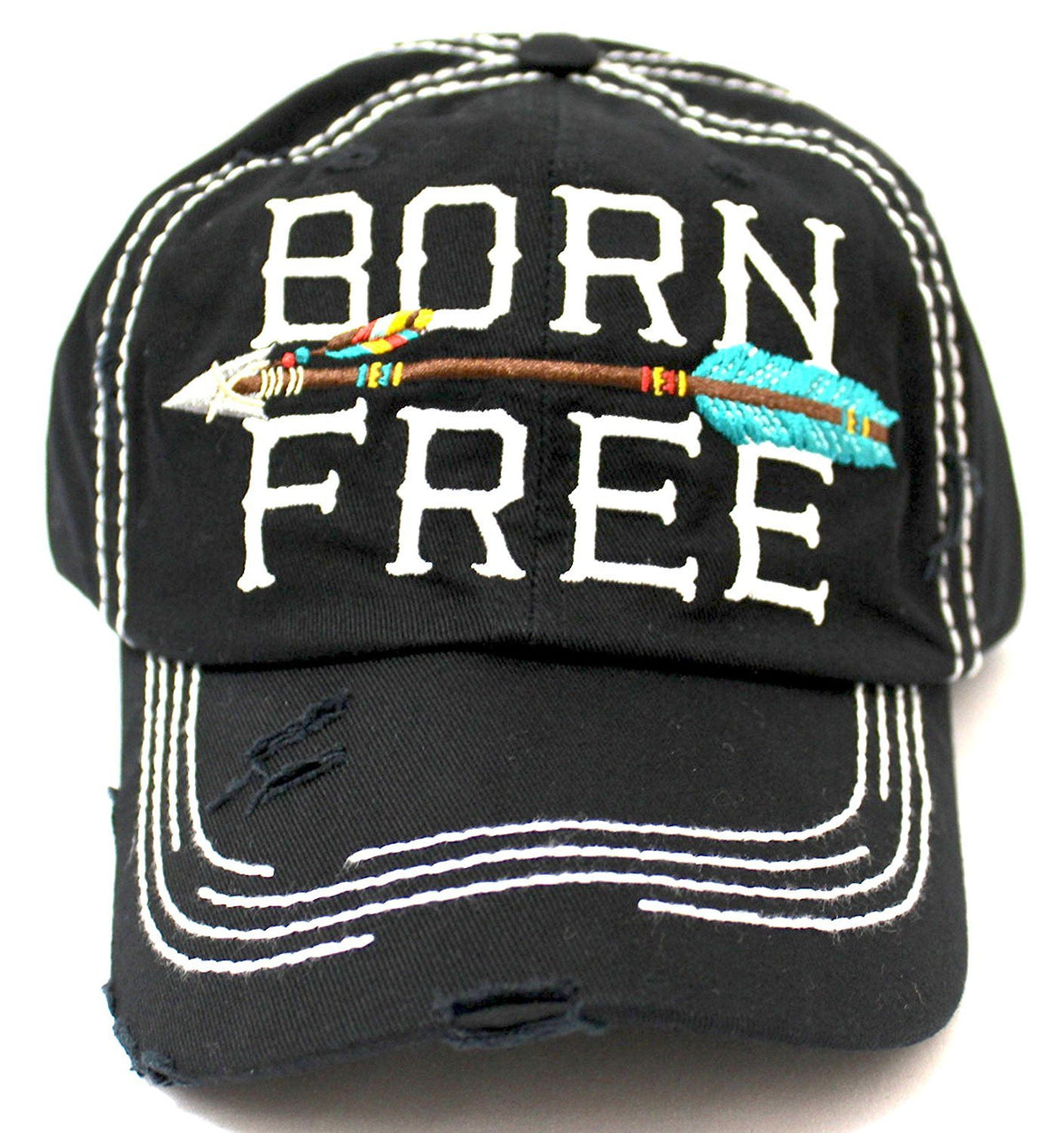 "BLACK ""BORN FREE"" Women's Distressed Baseball Cap w/ Adjustable Arrow Detailed Back - Caps 'N Vintage"