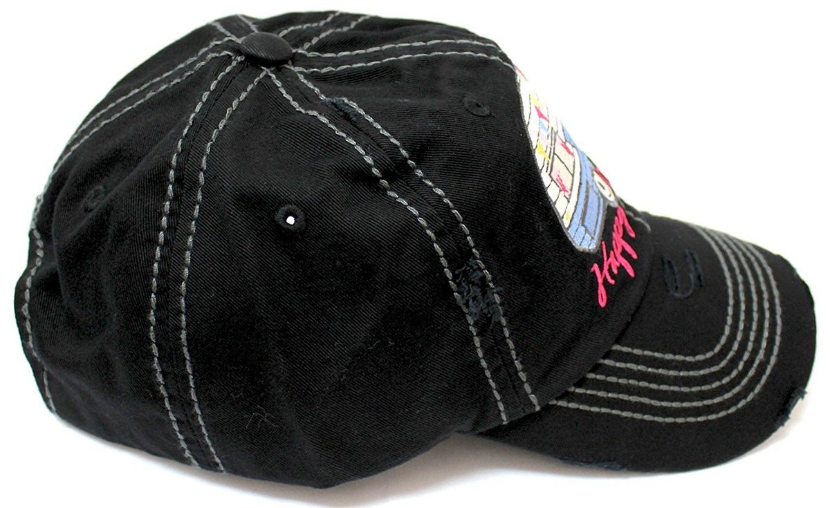 "BLACK ""Happy Camper"" Embroidery Distressed Vintage Cap - Caps 'N Vintage"