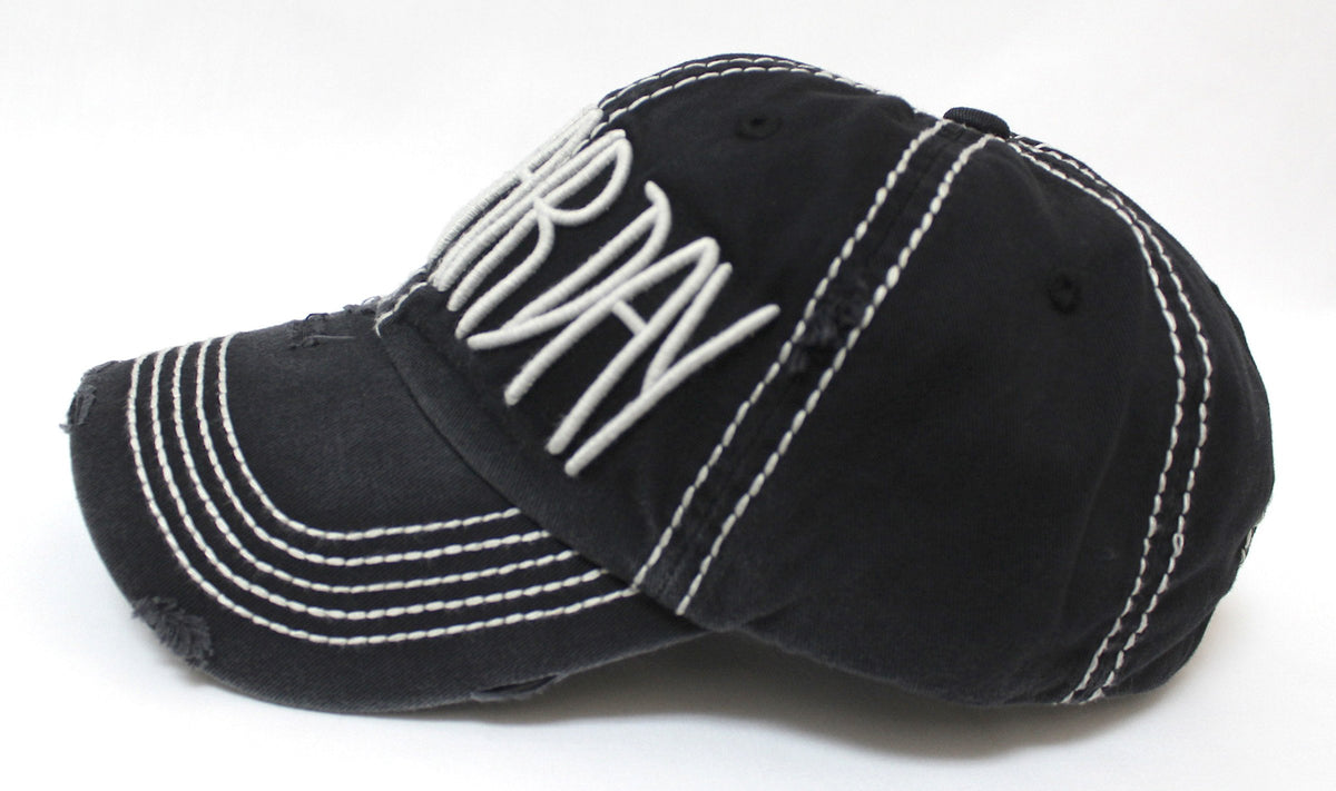 "BLK Contrast-Stitch ""BAD HAIR DAY"" Embroidery Baseball Hat - Caps 'N Vintage"