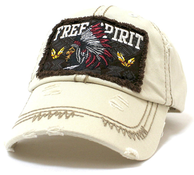 "Bone ""FREE SPIRIT"" Tribal Chief Patch on Distressed, Adjustable Vintage Cap - Caps 'N Vintage"