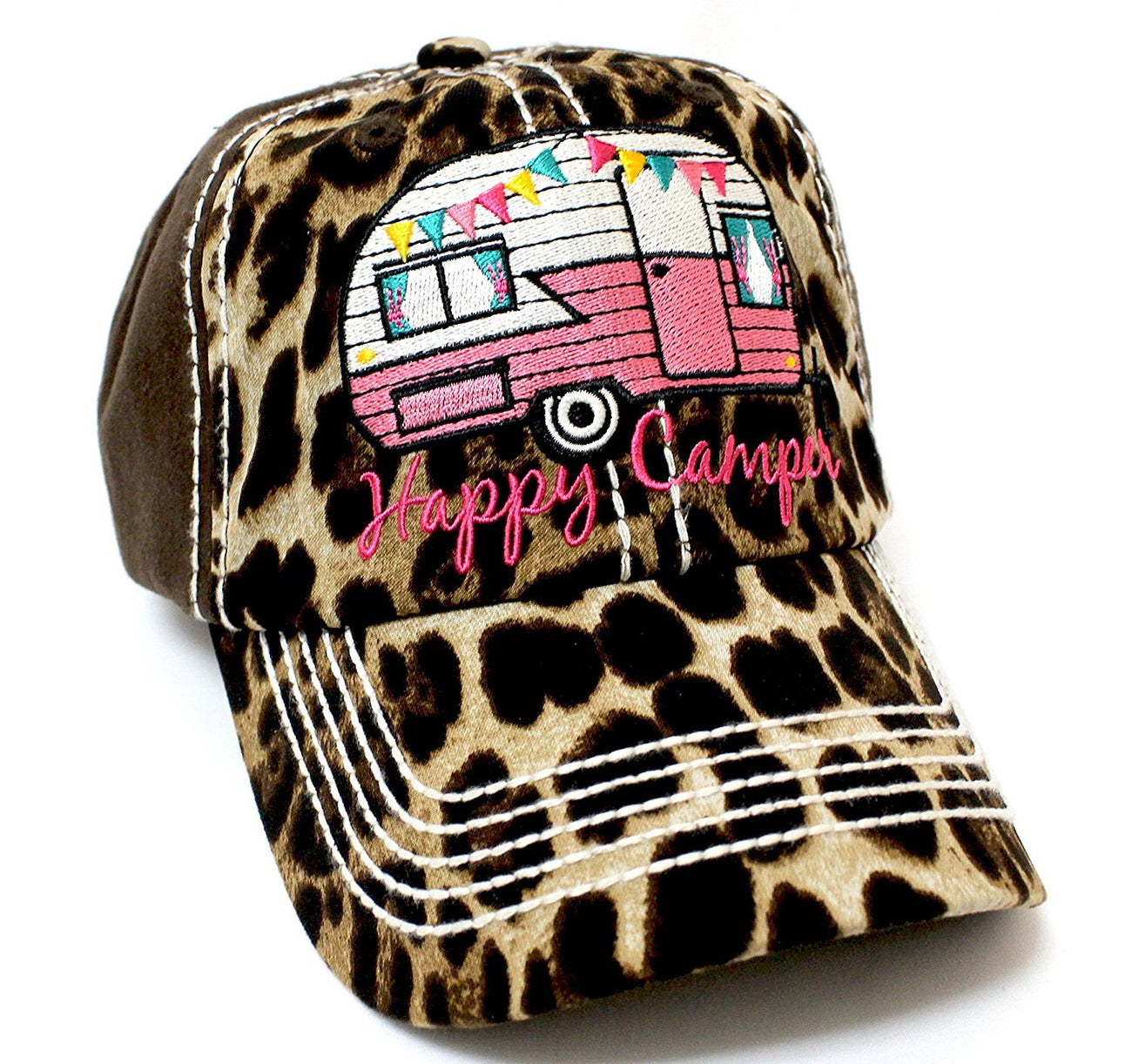 "BROWN & LEOPARD ""Happy Camper"" Embroidery Patch Vintage Hat - Caps 'N Vintage"