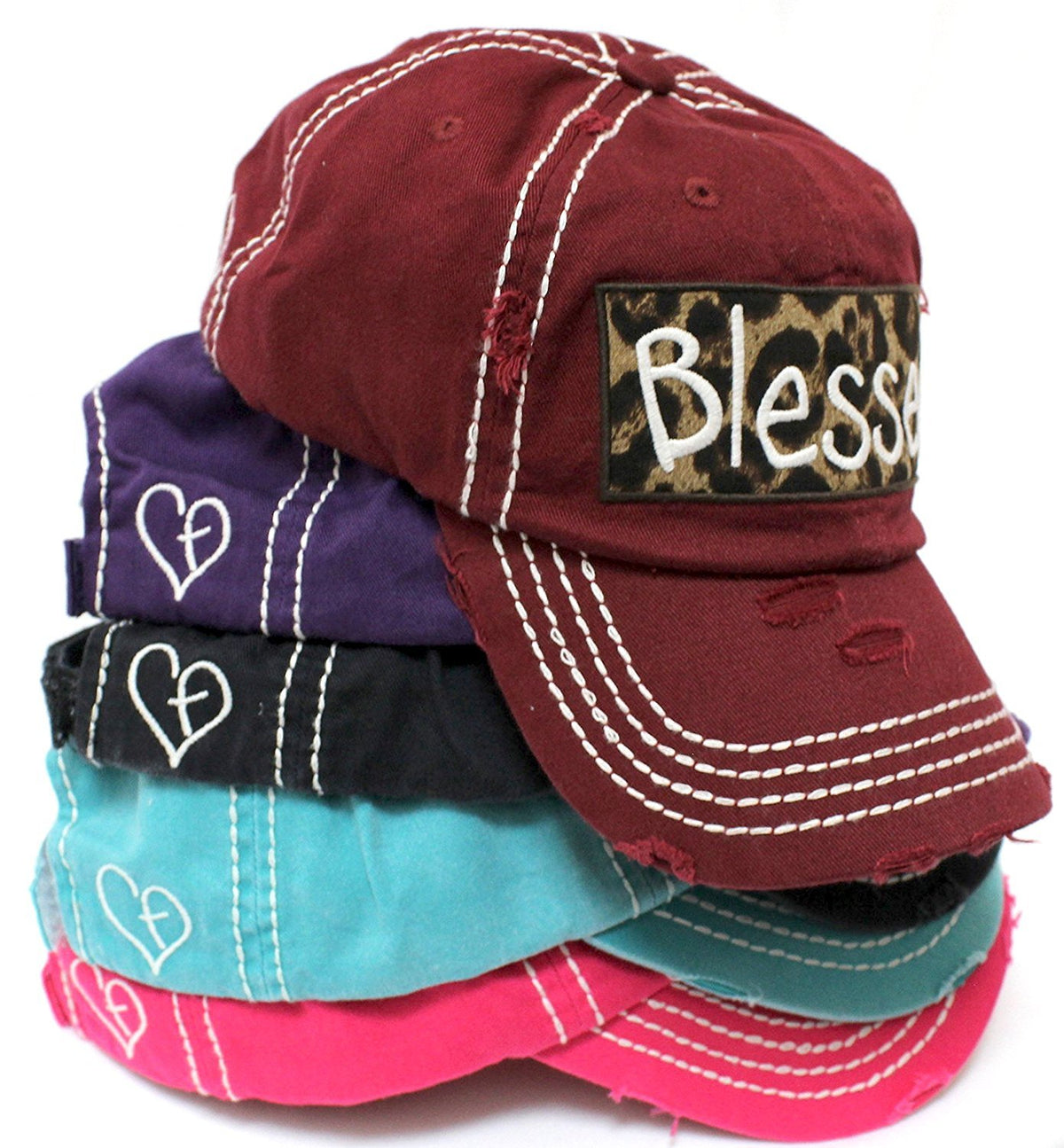 "BURGUNDY ""BLESSED"" Leopard Patch Embroidery Vintage Hat - Caps 'N Vintage"