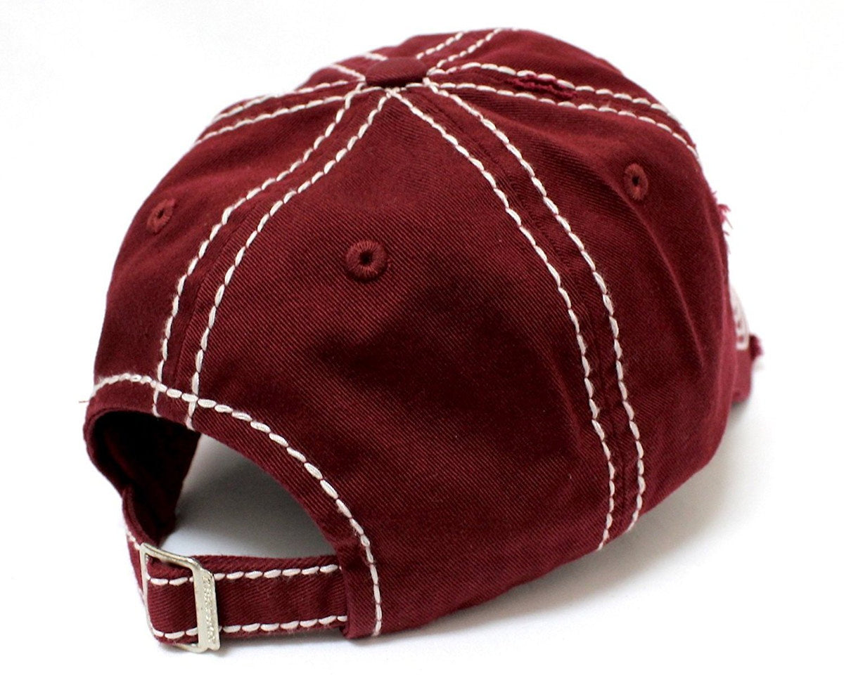 "Burgundy ""Happy Camper"" Distressed Embroidery Hat - Caps 'N Vintage"