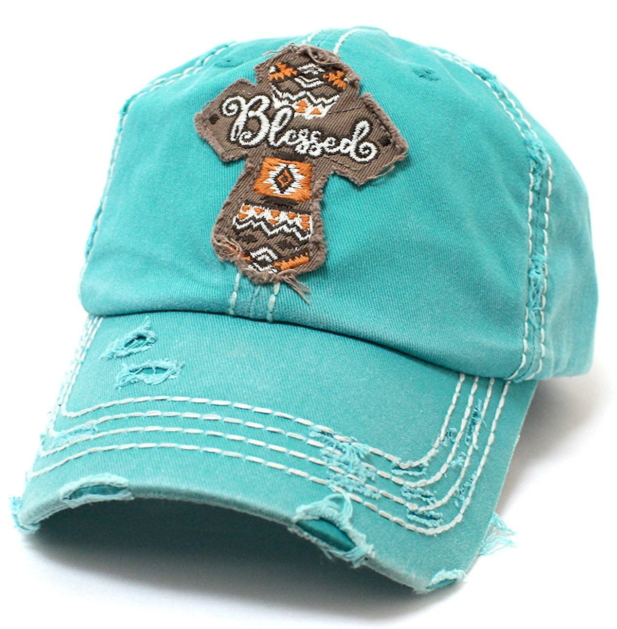 CAPS 'N VINTAGE Blessed Cross Patch Embroidery Vintage Baseball Hat - Caps 'N Vintage