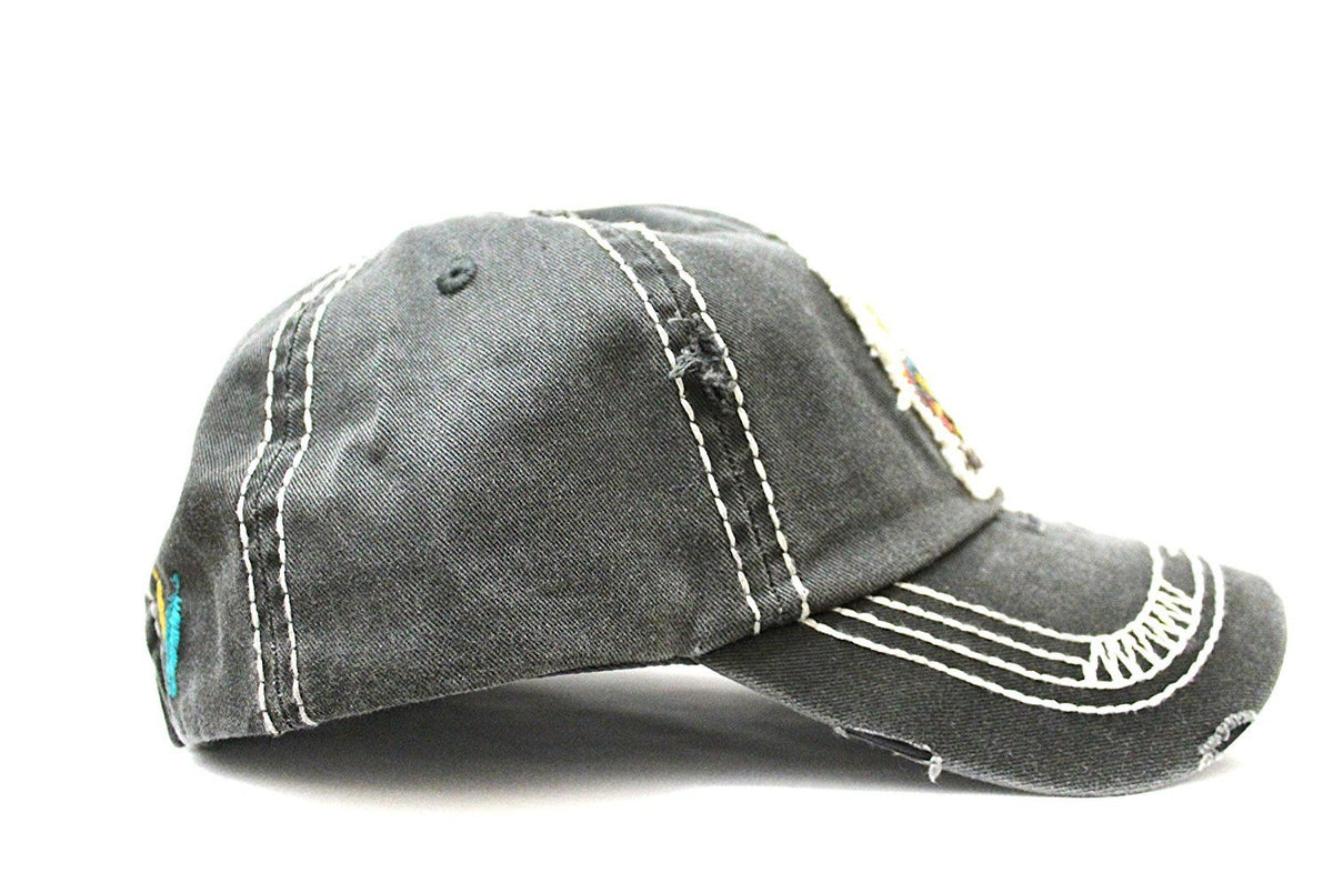 "Charcoal Triple Feather ""Free Spirit"" Patch--Vintage Cap w/ Back Feather Detail - Caps 'N Vintage"