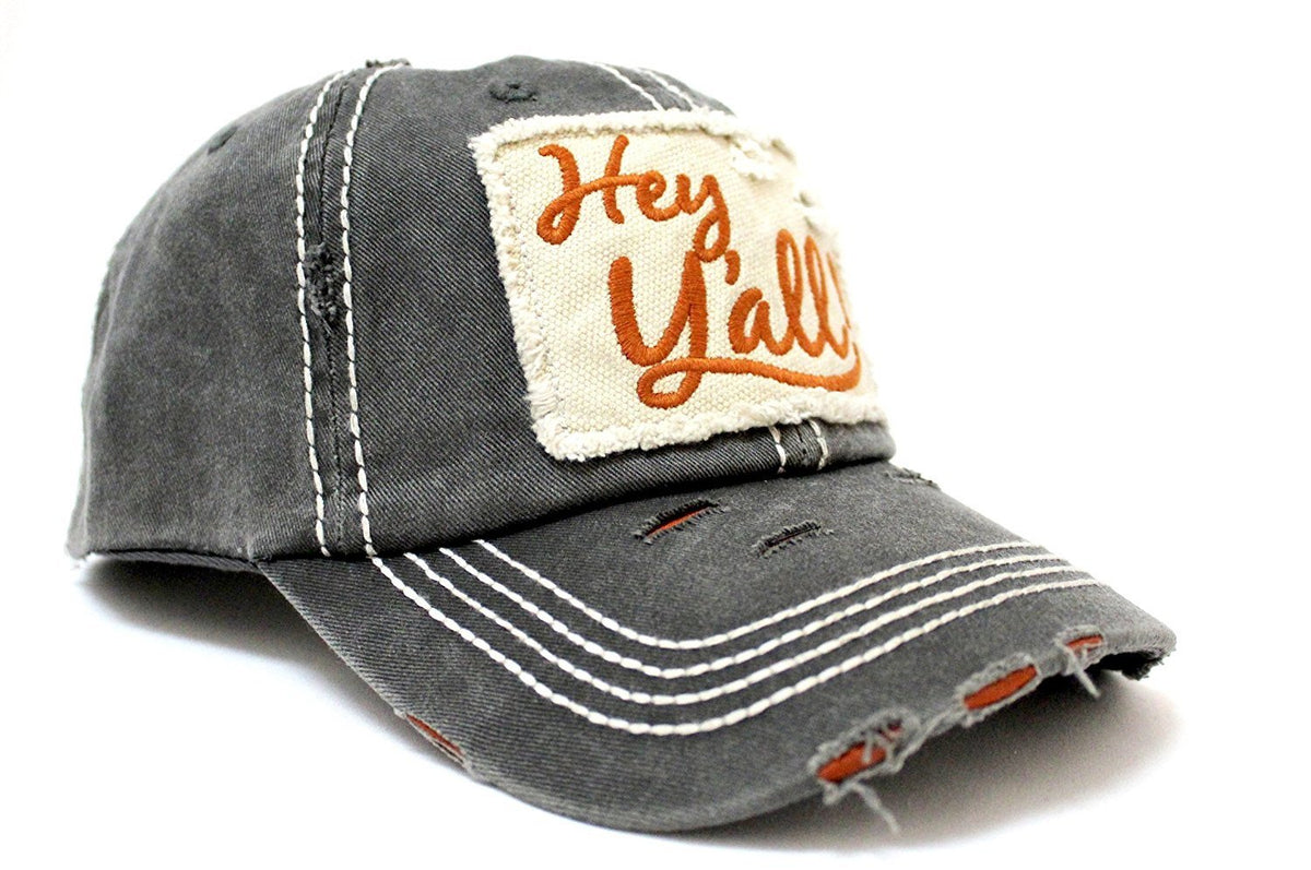 "Charcoal/Rust ""Hey Y'all!"" Patch Embroidery Cap w/ Contrast Stitching & Distressed Details - Caps 'N Vintage"