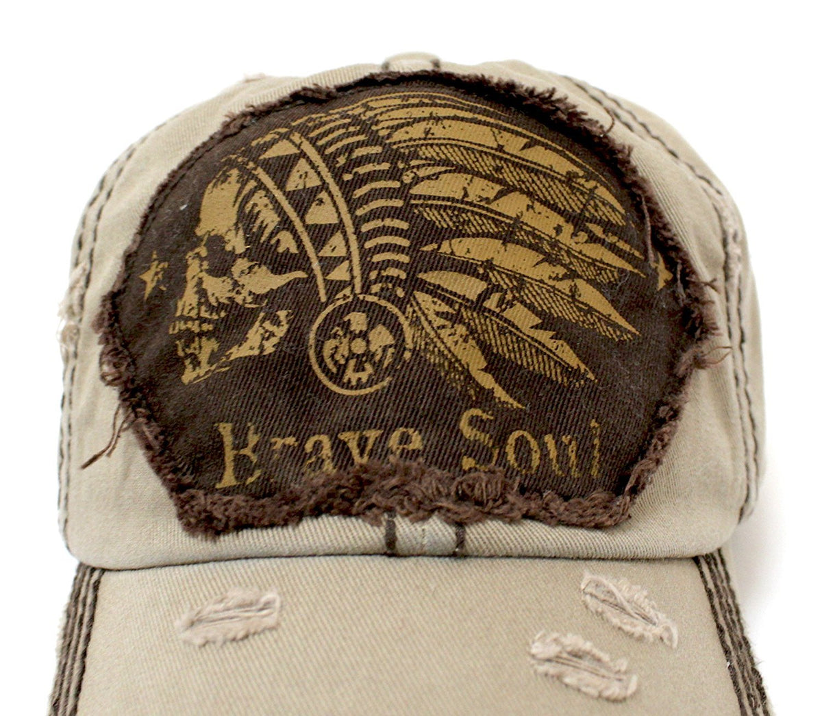 "Chief Skull ""Brave Soul"" Patch Embroidery Vintage Cap - Caps 'N Vintage"
