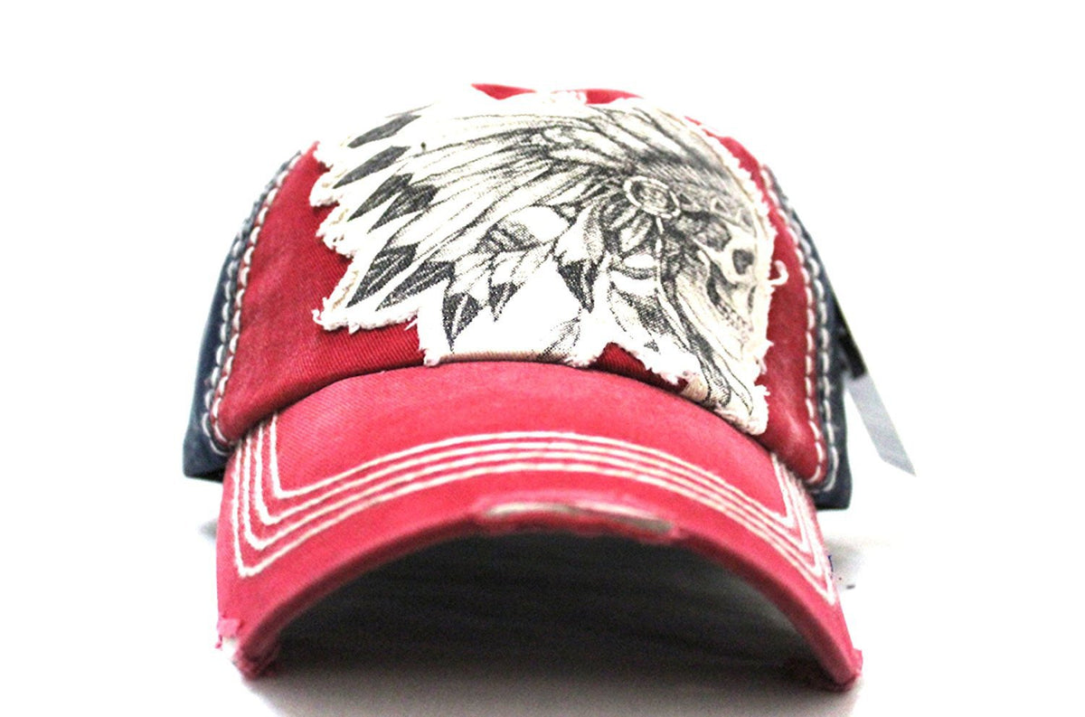 """Chief Skull"" Patch on RED Vintage Inspired Adjustable Cap w/ NAVY Back Paneling - Caps 'N Vintage"