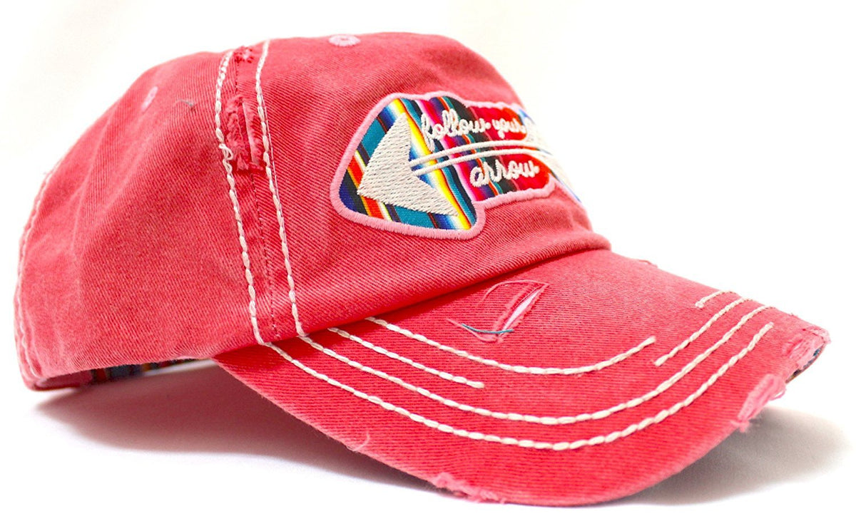 "CORAL PINK ""Follow Your Arrow"" Embroidery Patched, Serape-Color Theme Distressed Cap - Caps 'N Vintage"
