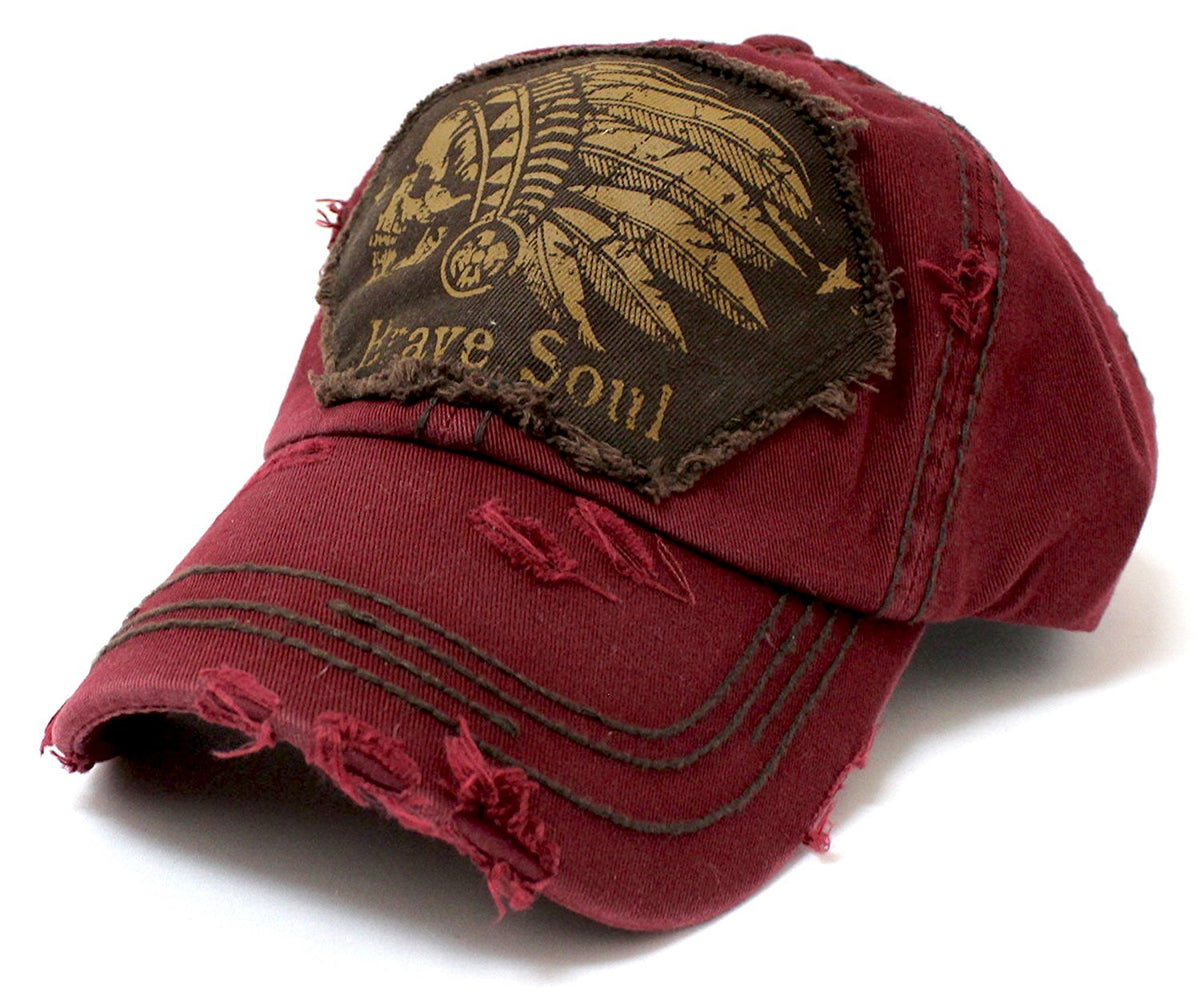 "DARK BURGUNDY Chief Skull ""Brave Soul"" Embroidery Patch Vintage Baseball Hat - Caps 'N Vintage"