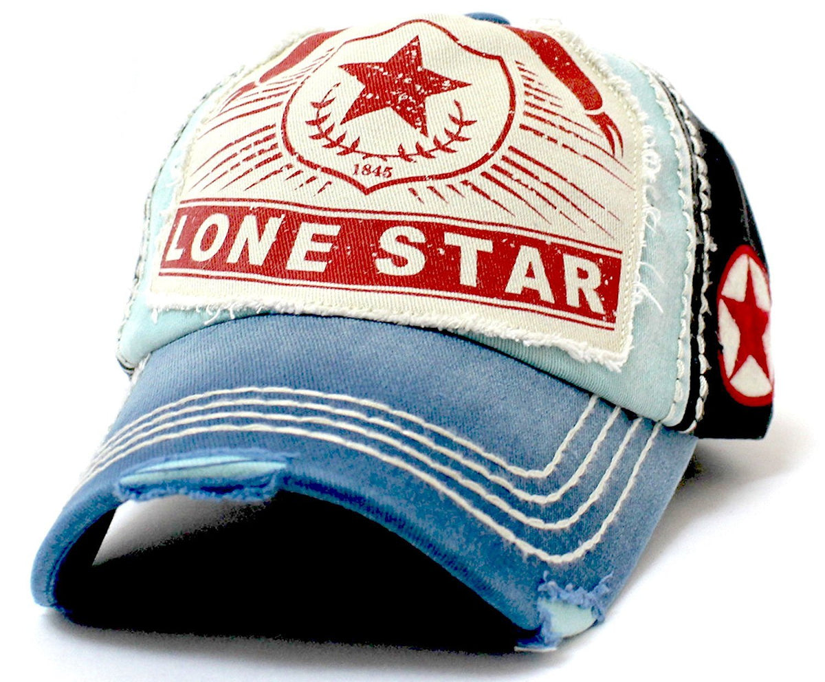 "Distressed ""LONE STAR"" Patch Embroidery Vintage Ballcap - Caps 'N Vintage"