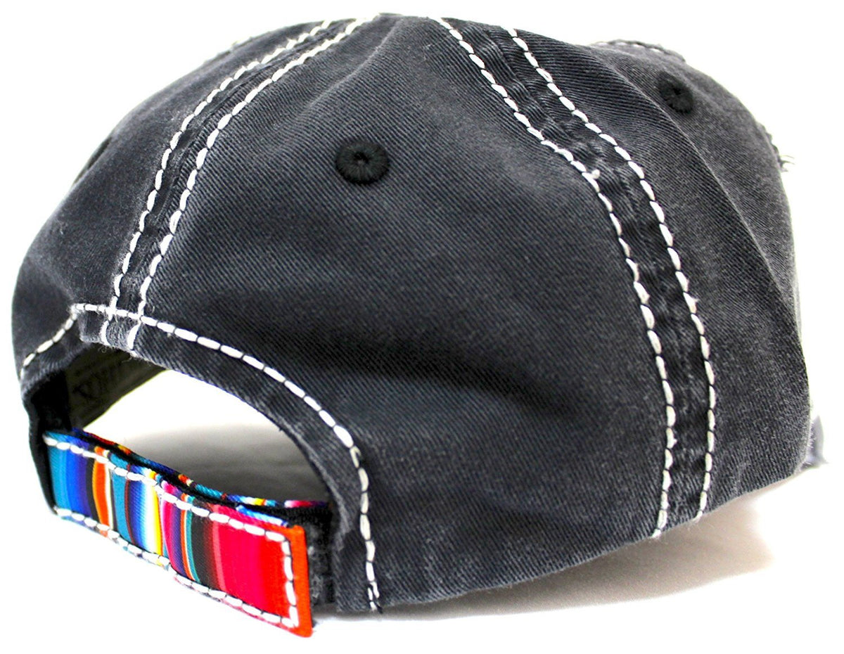 """Follow Your Arrow"" Serape Color Patch-Embroidery Distressed Vintage Cap-Black - Caps 'N Vintage"