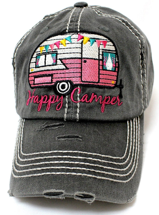 "Grey ""Happy Camper"" Distressed Embroidery Hat - Caps 'N Vintage"