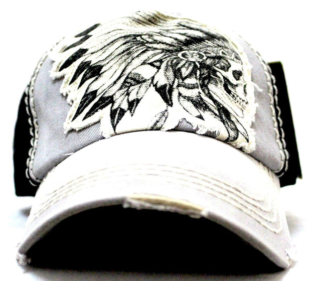 GREY/BLACK TRIBAL CHIEF SKULL ADJUSTABLE VINTAGE CAP - Caps 'N Vintage