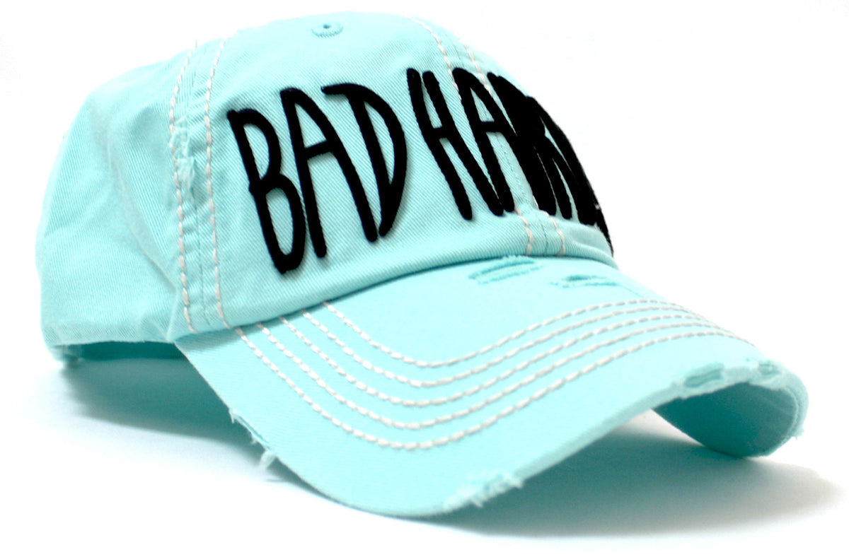 "ICE BLUE Contrast-Stitch ""BAD HAIR DAY"" Embroidery Ballcap - Caps 'N Vintage"