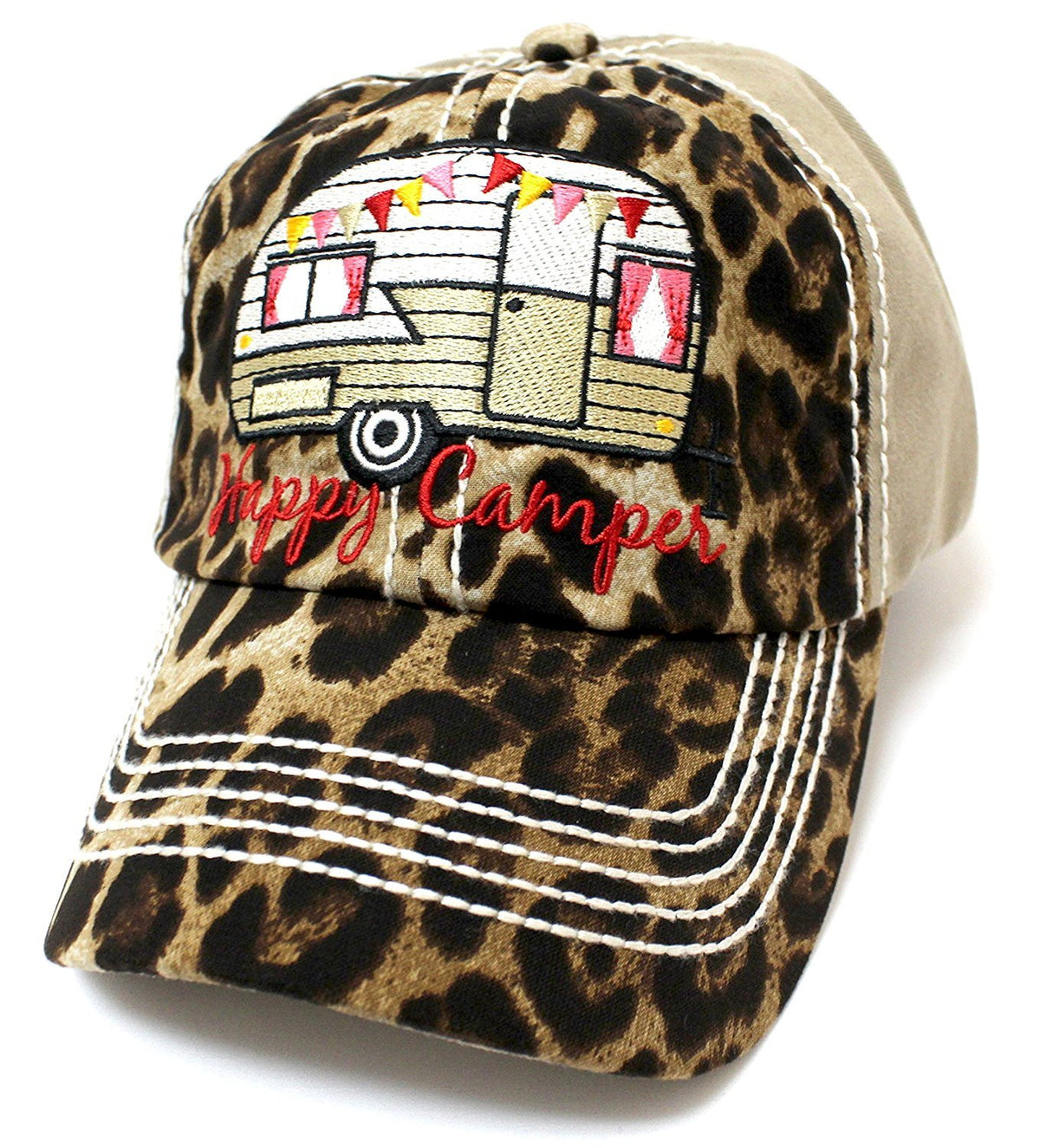 "KHAKI & LEOPARD ""Happy Camper"" Embroidery Patch Vintage Hat - Caps 'N Vintage"