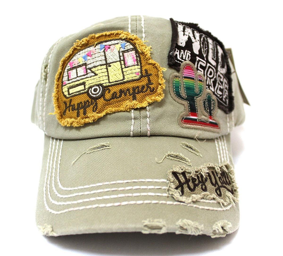 "Khaki ""Y'ALL, HAPPY CAMPER, WILD FREE"" Multi-Patch Embroidered Adjustable Cap - Caps 'N Vintage"