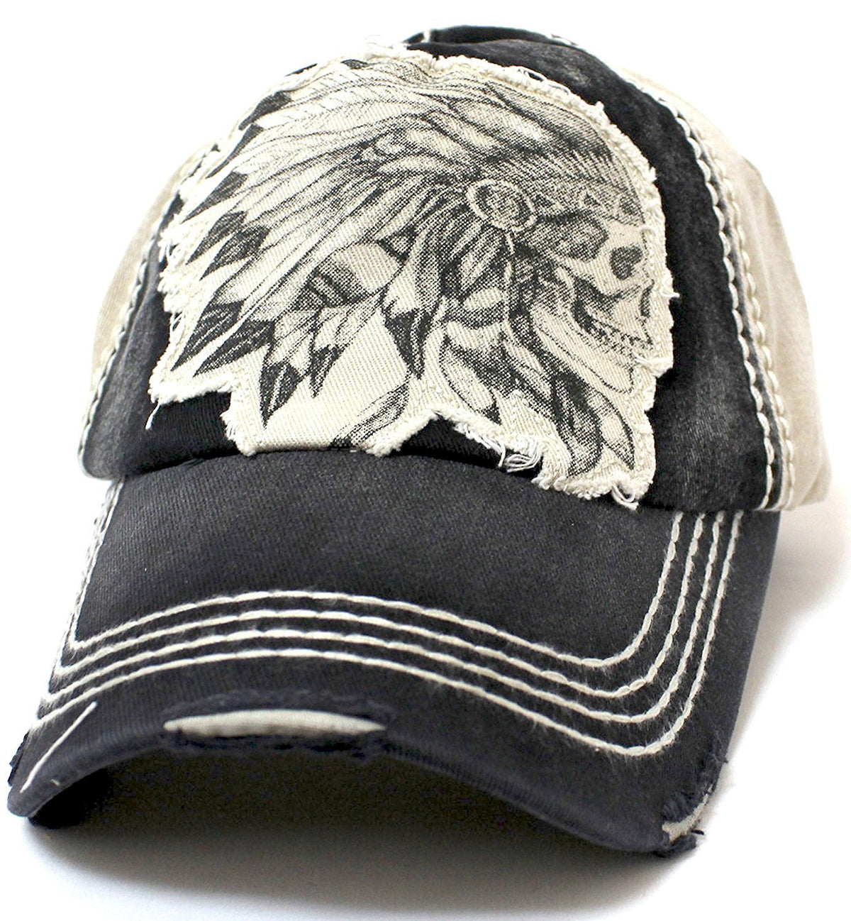 KHAKI/Black Vintage Washed CHIEF HEADDRESS Patch Embroidery Baseball Cap - Caps 'N Vintage