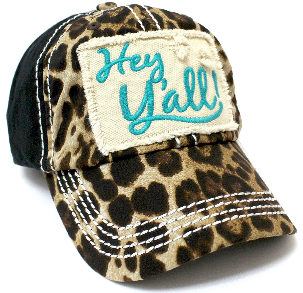 "LEOPARD & TURQUOISE ""Hey Y'all!"" Patch Embroidery Cap/ Vintage Hat - Caps 'N Vintage"