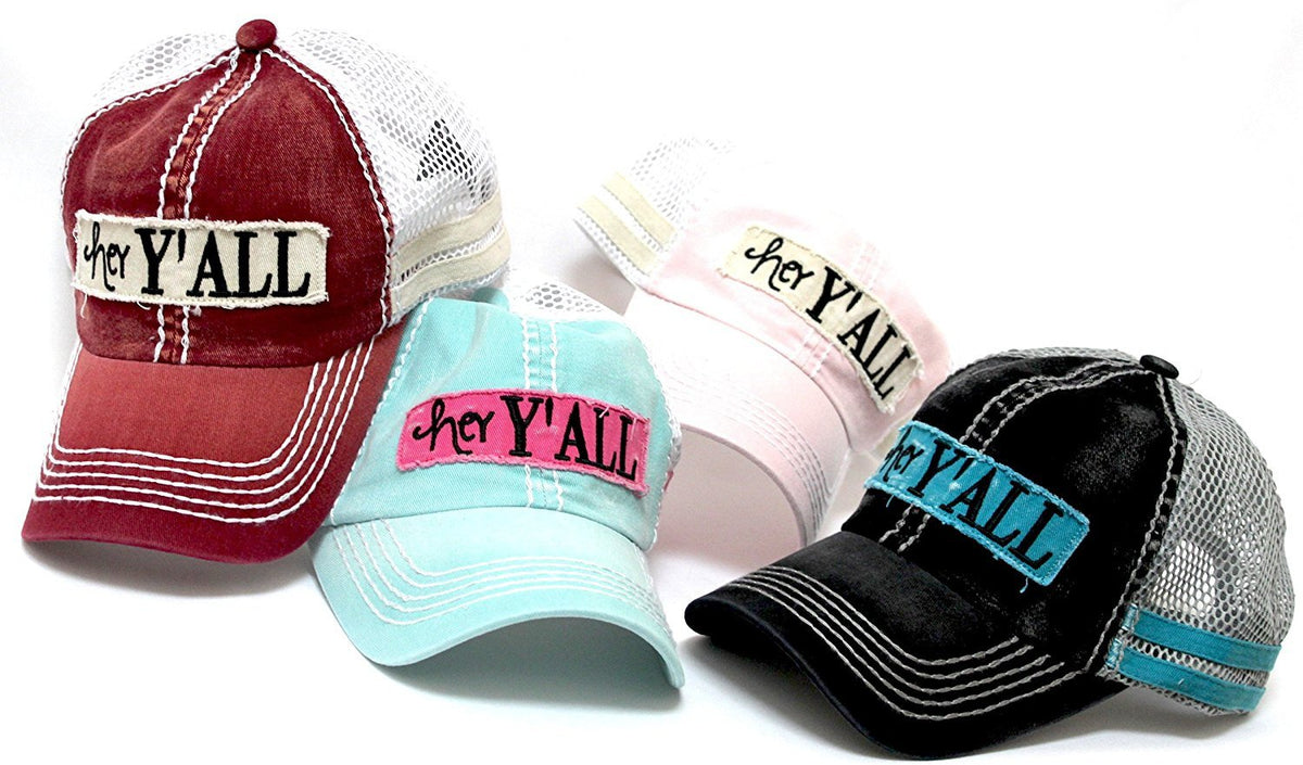 "MINT ""hey Y'ALL"" Embroidery Patch Baseball Trucker Hat - Caps 'N Vintage"
