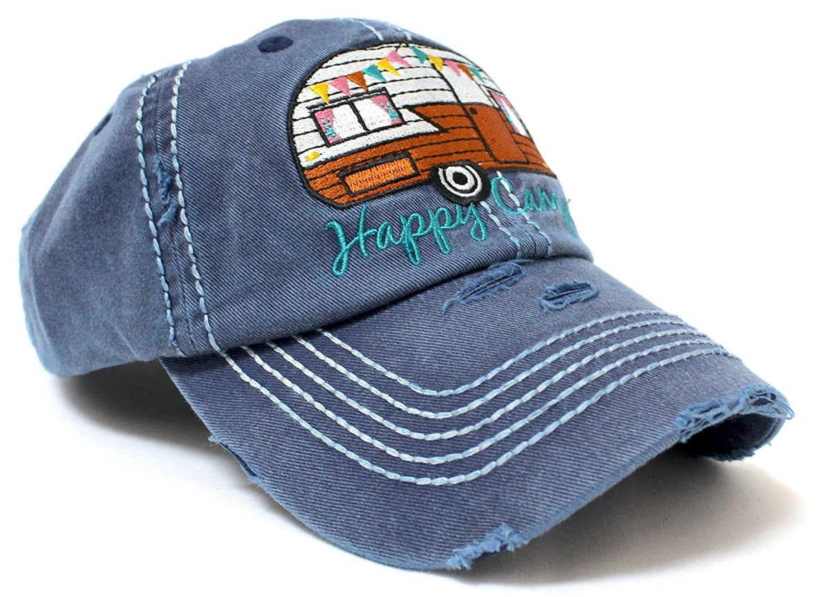 "Navy-Jean Blue ""Happy Camper"" Baseball Hat - Caps 'N Vintage"