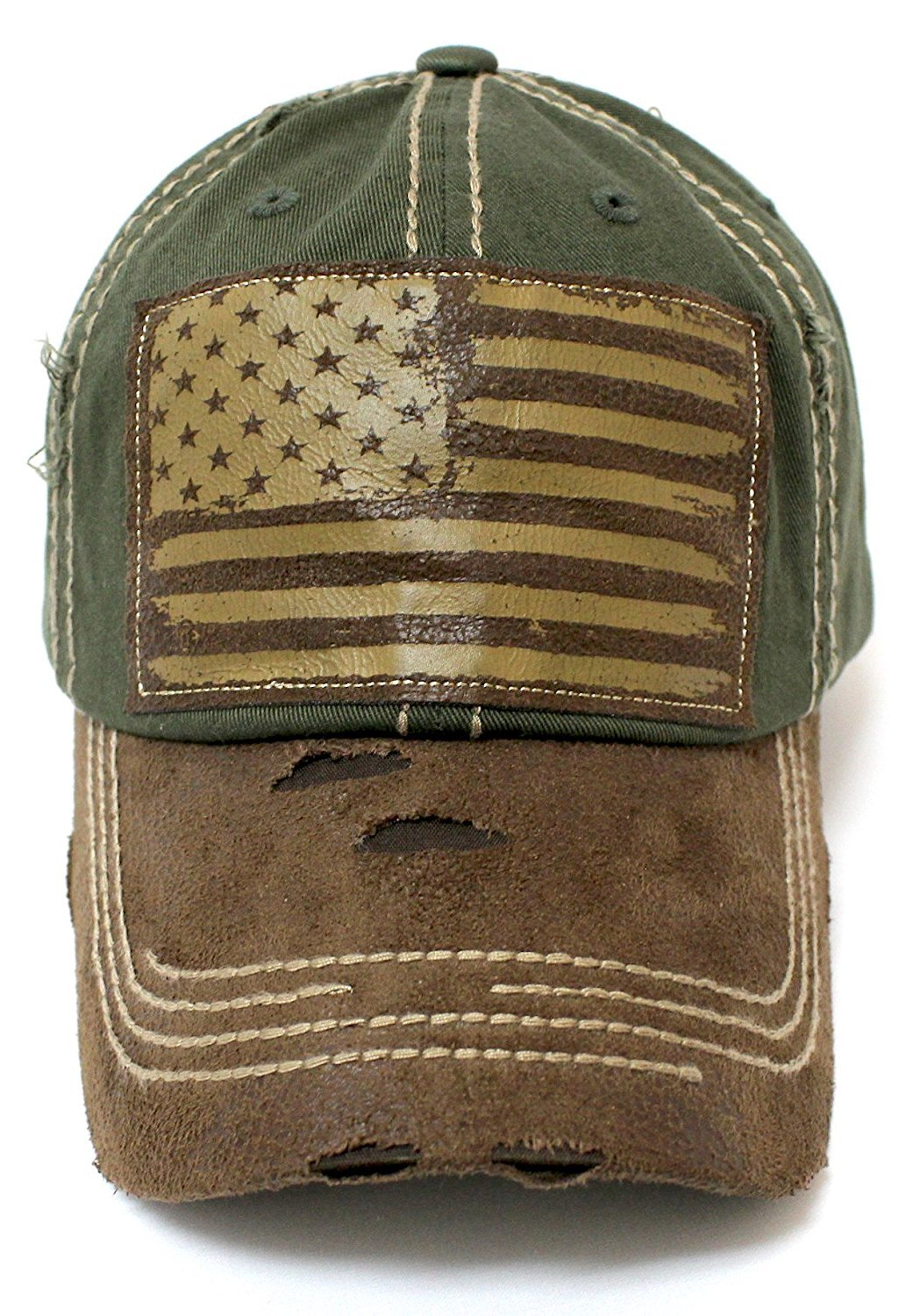 New!! Army Green/Tan Suede Bill American Flag Vintage Baseball Hat - Caps 'N Vintage