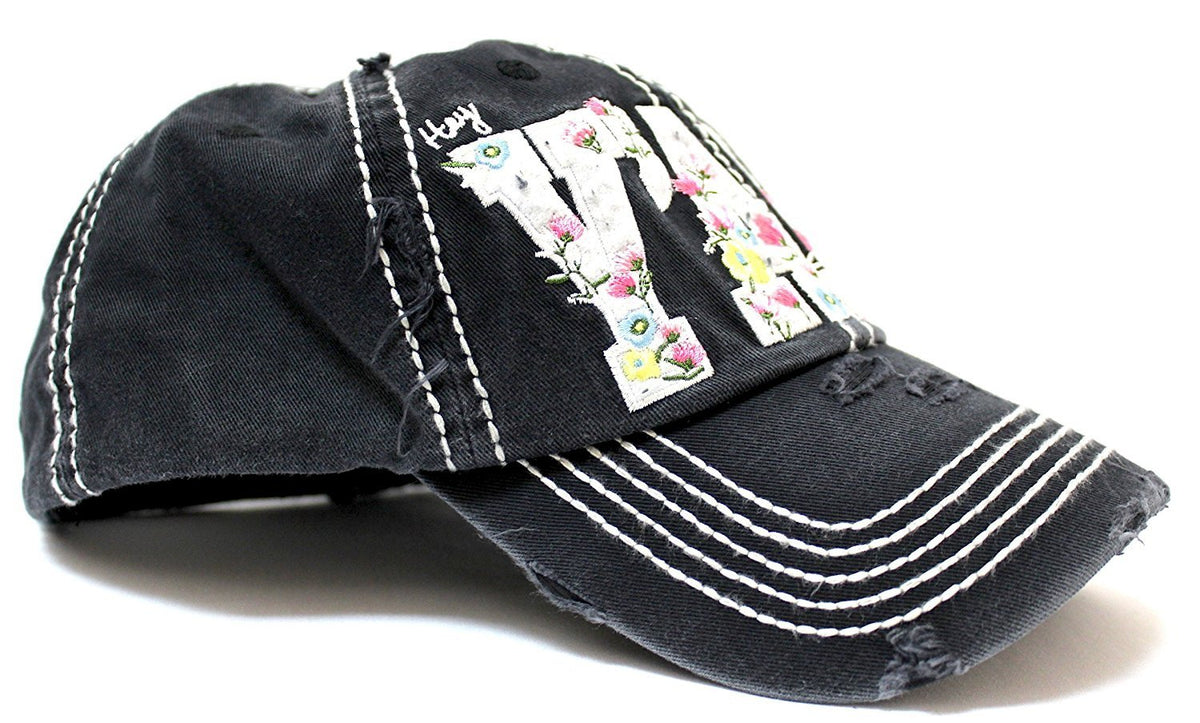 "NEW! BLACK Floral ""Y'all"" Distressed, Adjustable Vintage Cap - Caps 'N Vintage"