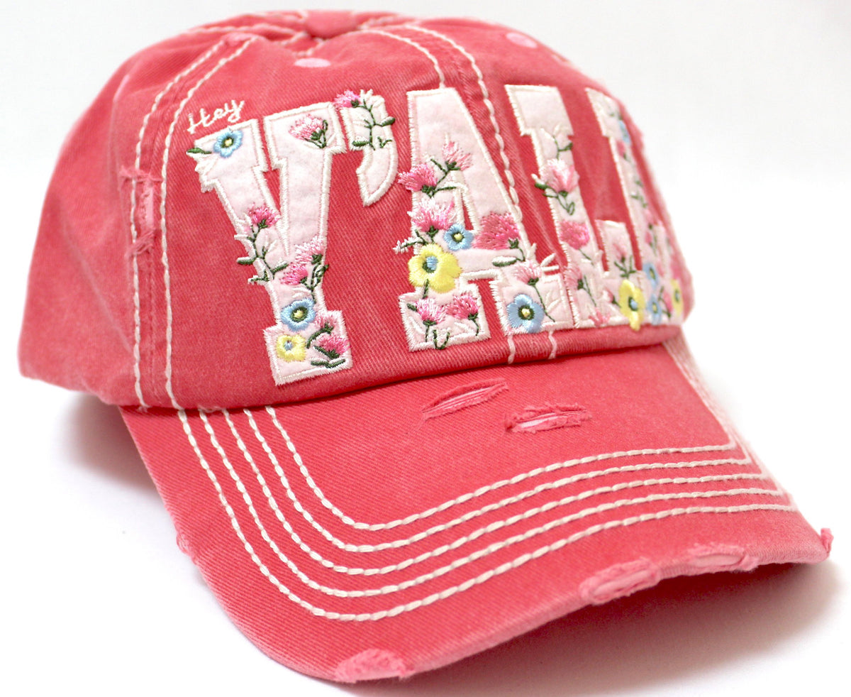 "NEW! CORAL ROSE FLORAL ""Y'all"" Baseball Cap - Caps 'N Vintage"
