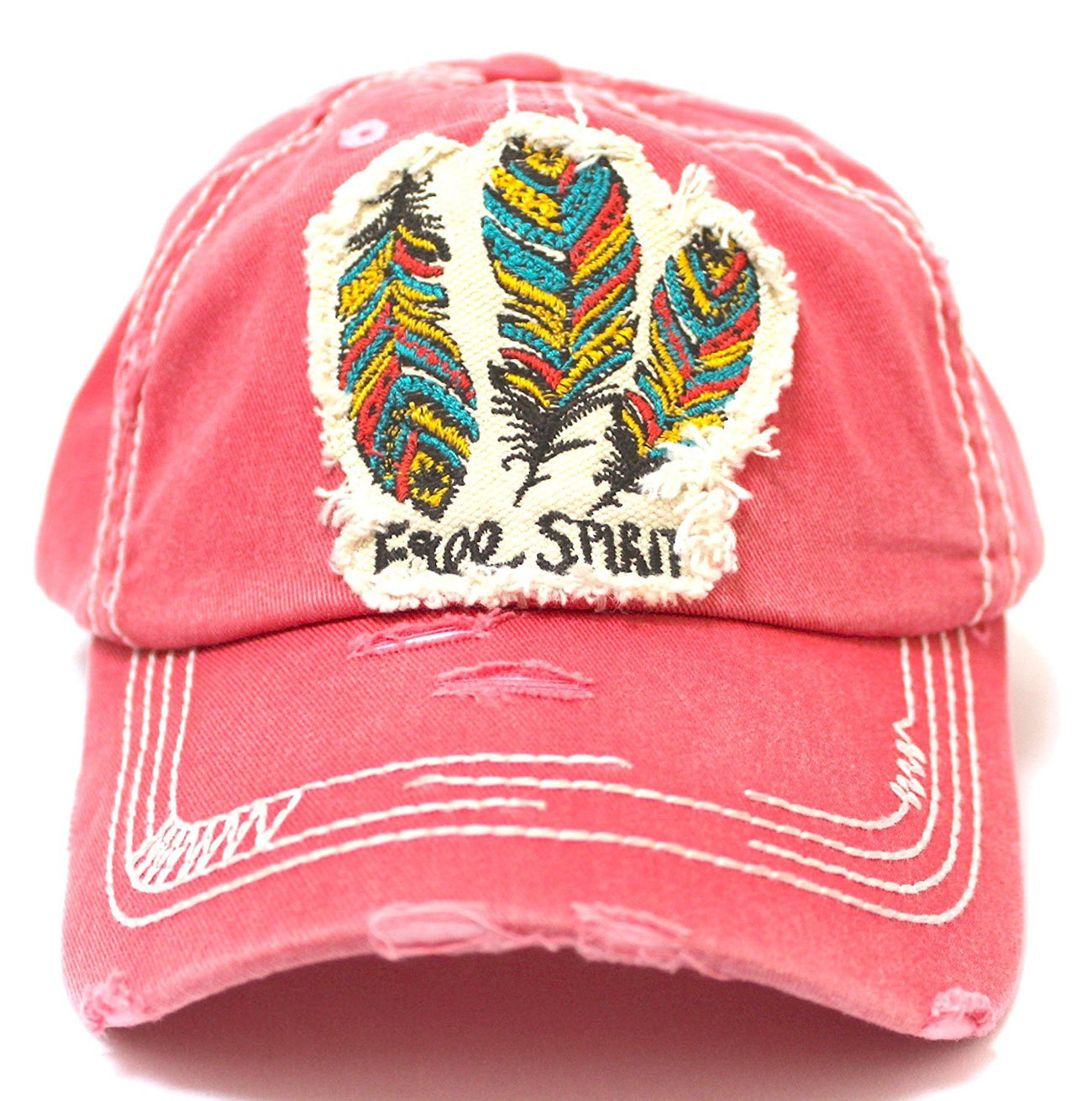 "NEW! CORAL Triple Feather ""Free Spirit"" Patch Embroidery Cap - Caps 'N Vintage"