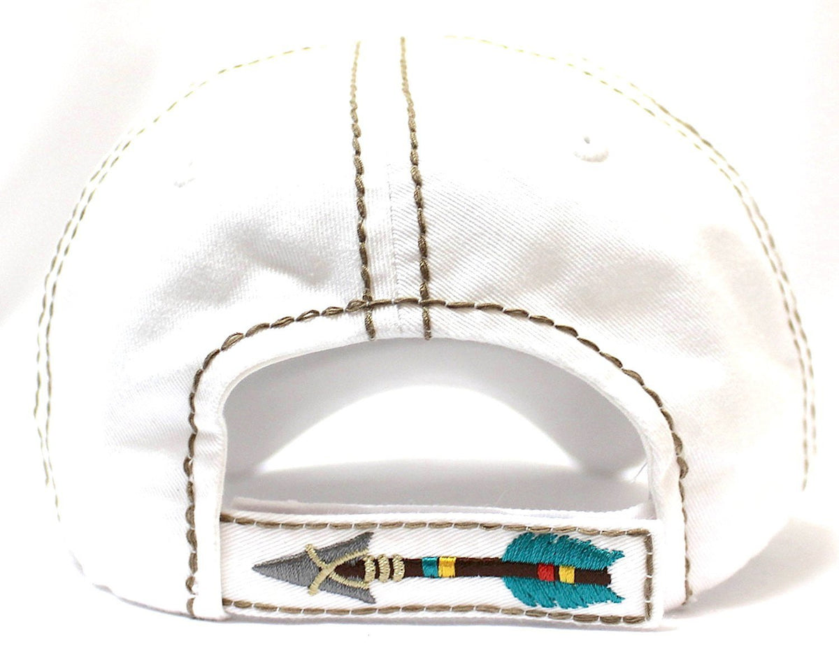 "New! IVORY ""BORN FREE"" Distressed Vintage Cap w/ Arrow Embroidery Adjustable Back - Caps 'N Vintage"