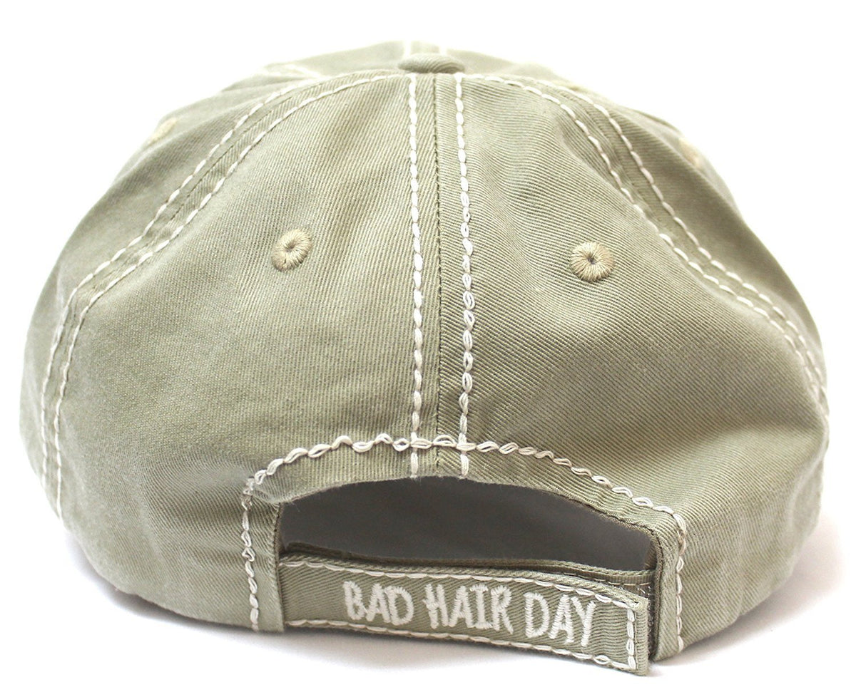 "New! Khaki ""BAD HAIR DAY"" Embroidery Patch Baseball Cap - Caps 'N Vintage"