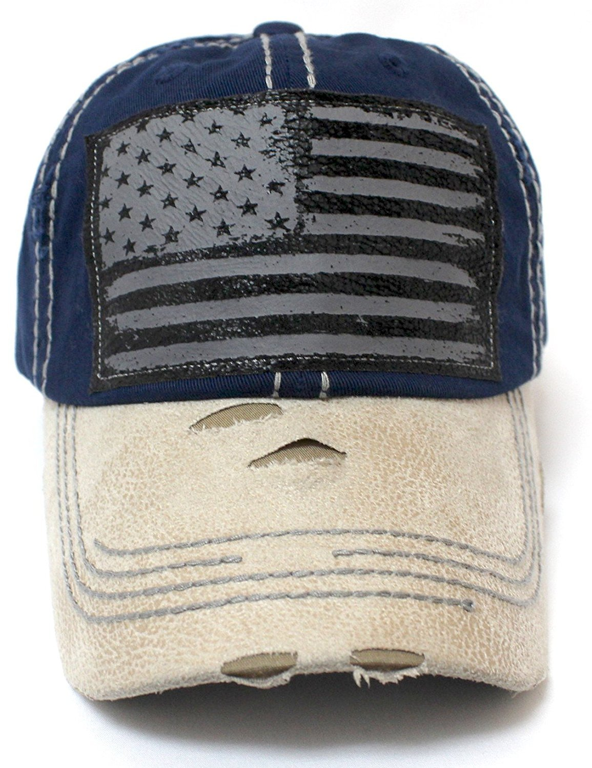 New!! Navy/Crème Suede Bill American Flag Vintage Baseball Hat - Caps 'N Vintage