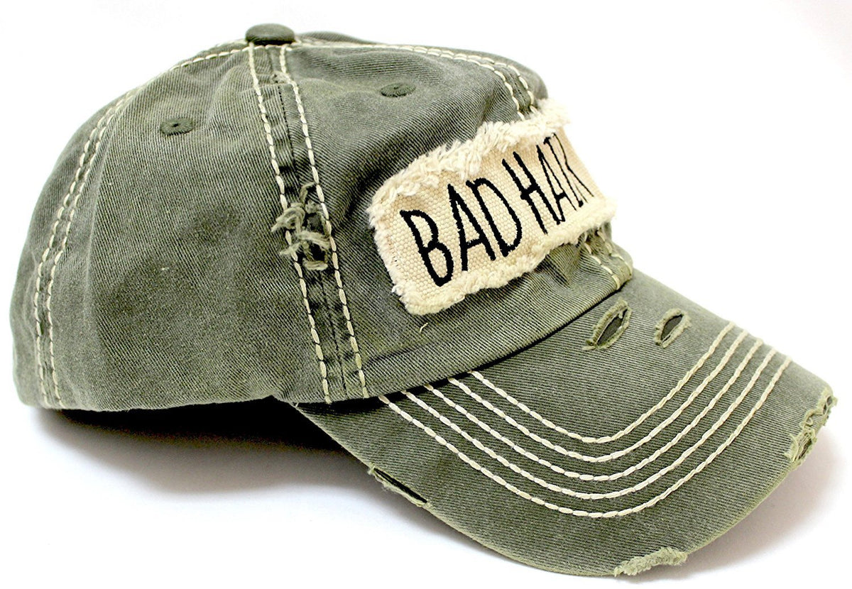 "New! Olive ""BAD HAIR DAY"" Embroidery Patch Baseball Cap - Caps 'N Vintage"