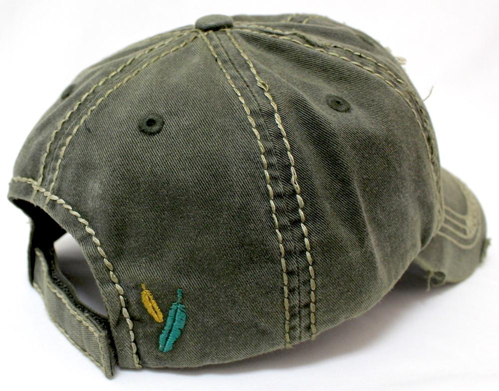 "NEW!! OLIVE Triple Feather ""Free Spirit"" Women's Patch Embroidery Vintage Hat - Caps 'N Vintage"