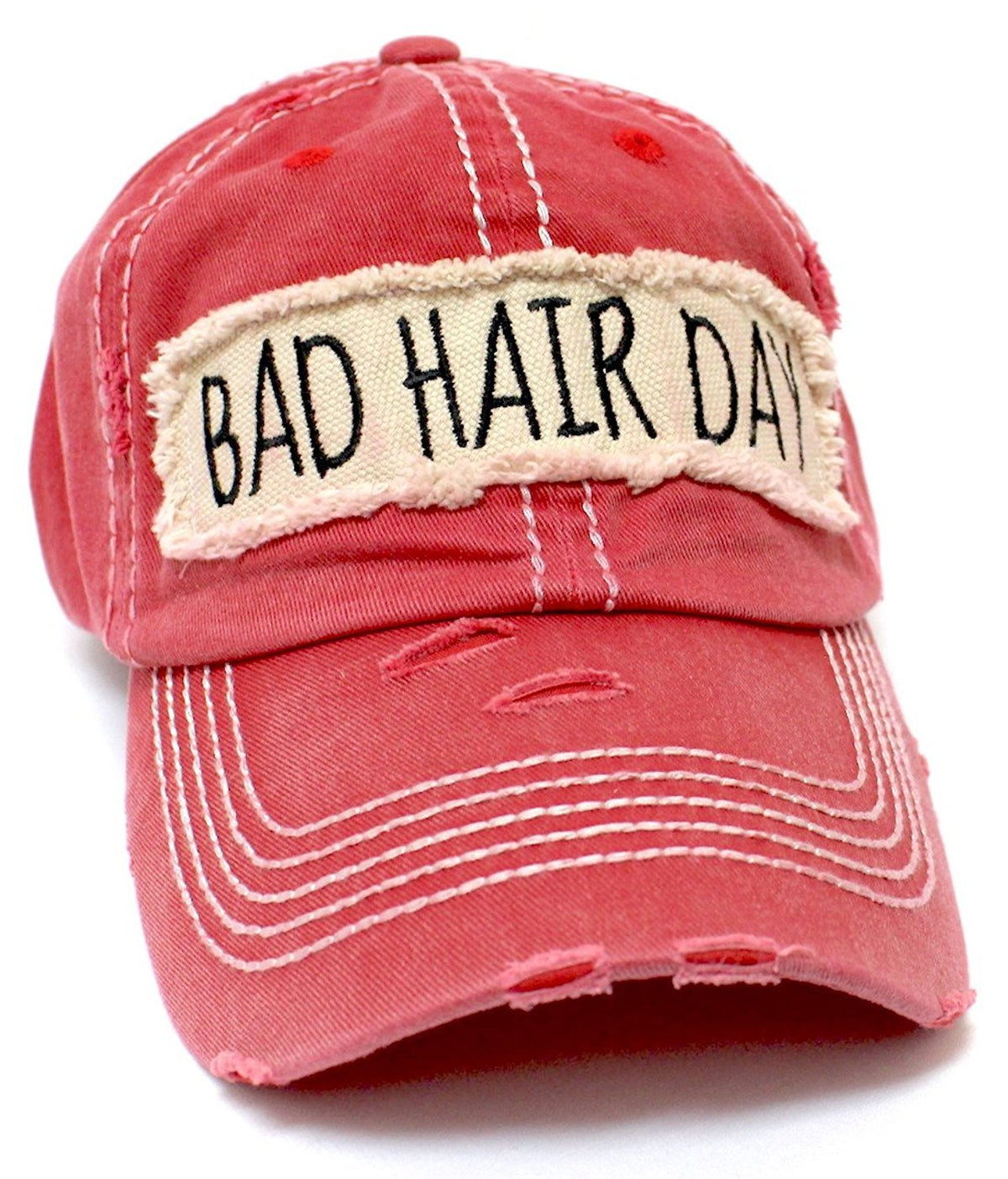 "NEW!! RED ""BAD HAIR DAY"" Patch Embroidery Baseball Hat - Caps 'N Vintage"