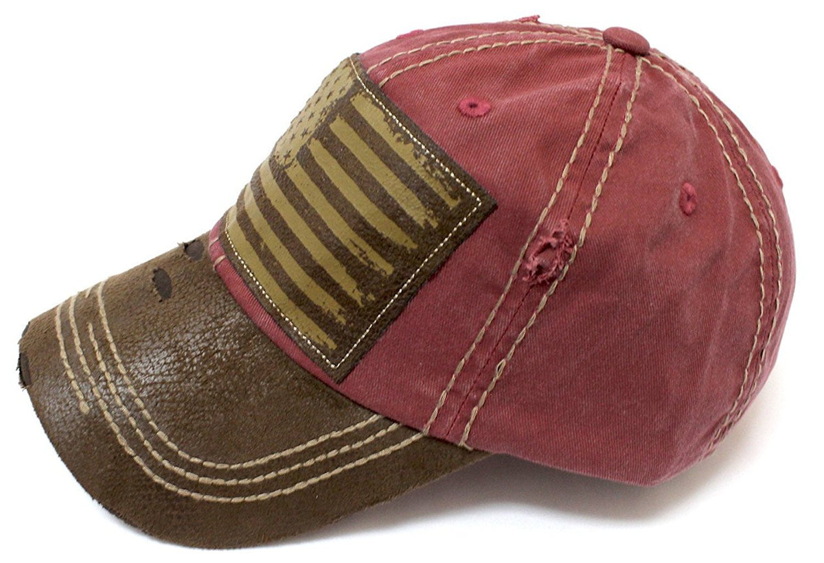 New!! Rose Pink/Tan Suede Bill American Flag Vintage Baseball Hat - Caps 'N Vintage