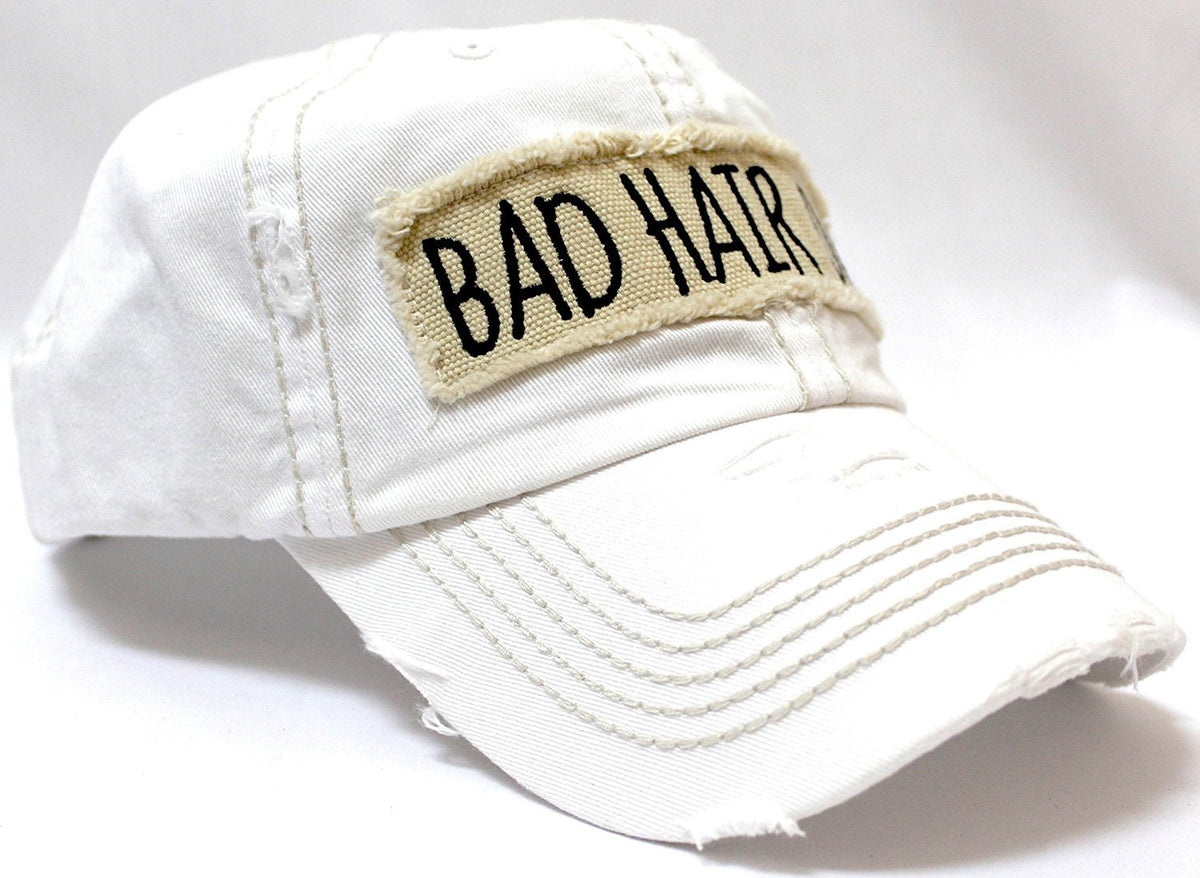"New! White ""BAD HAIR DAY"" Embroidery Patch Baseball Cap - Caps 'N Vintage"