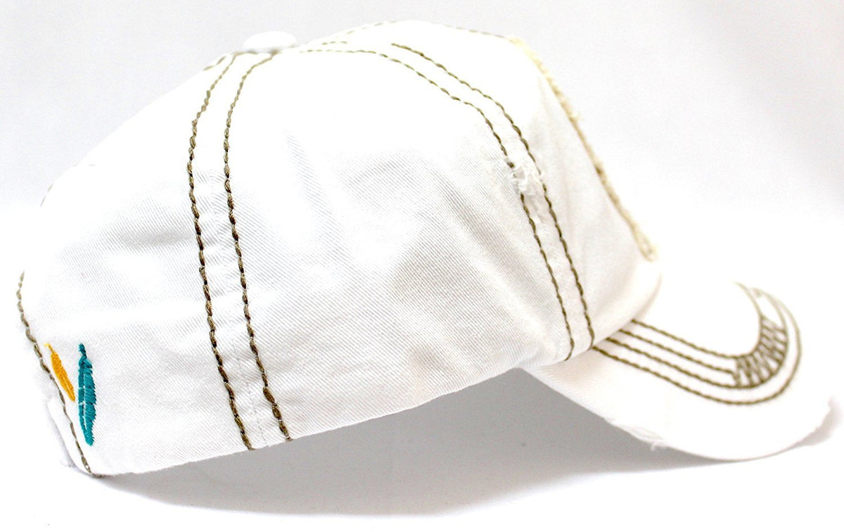 "NEW! WHITE Feather ""Free Spirit"" Patched Distressed Vintage Cap - Caps 'N Vintage"