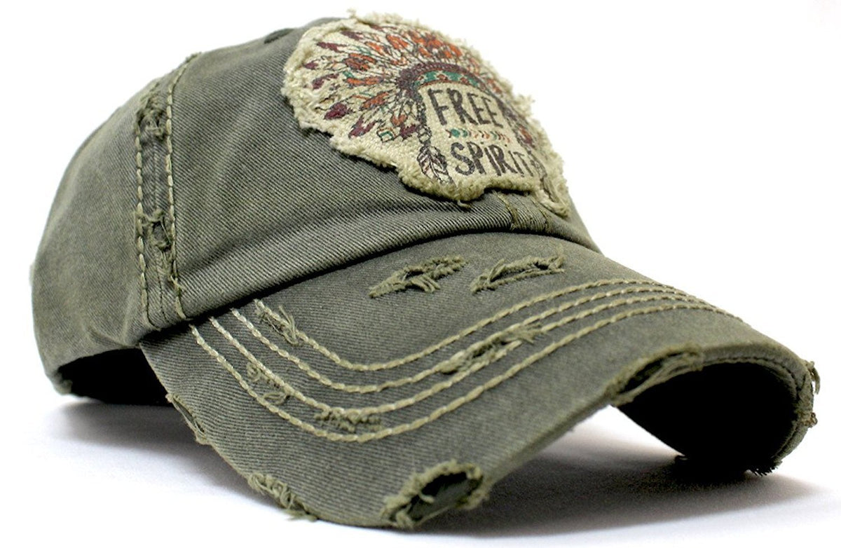"Olive ""Free Spirit Headdress"" Patch Embroidery Hat - Caps 'N Vintage"