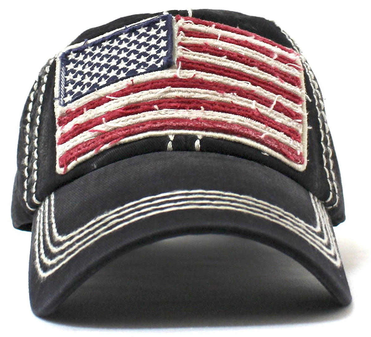 Oversized Vintage AMERICAN FLAG Patch Embroidery Baseball Cap - Caps 'N Vintage
