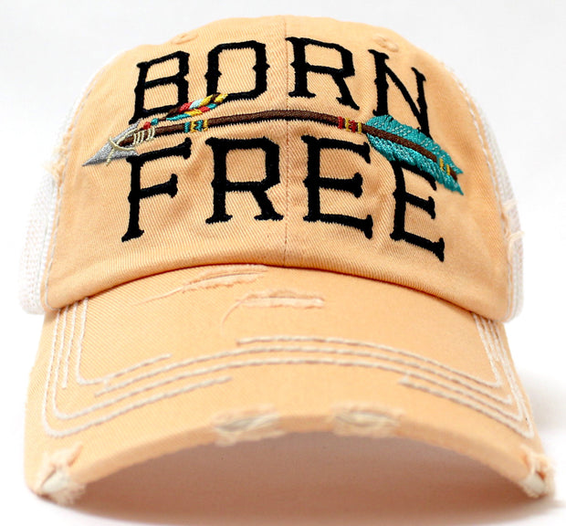 "PEACHY SAND ""BORN FREE"" Embroidery Vintage Trucker Hat, Pink Mesh Back & Arrow - Caps 'N Vintage"