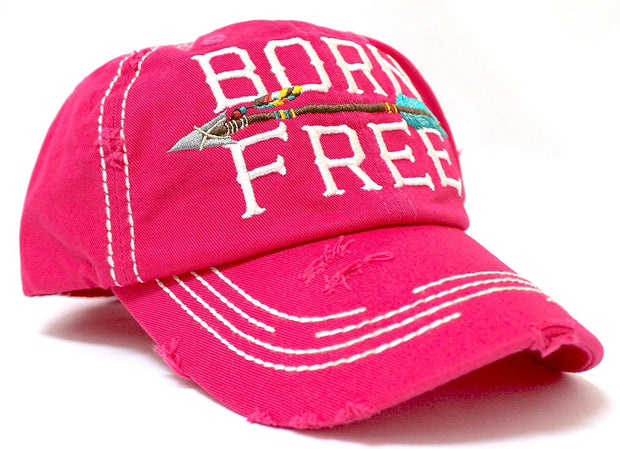 "PINK ""BORN FREE"" Women's Distressed Baseball Cap w/ Adjustable Arrow Detailed Back - Caps 'N Vintage"