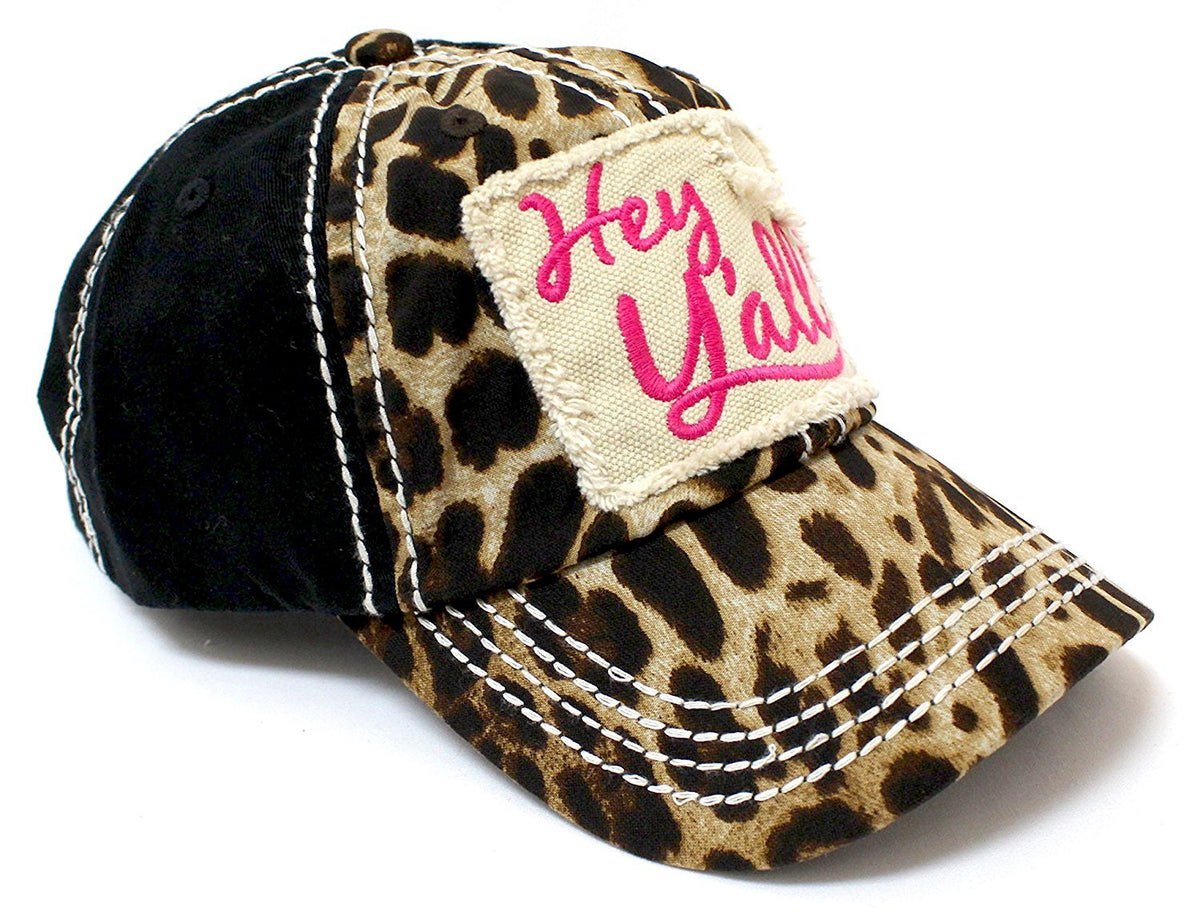 "PINK & LEOPARD  ""Hey Y'all!"" Patch Embroidery Women's Hat - Caps 'N Vintage"