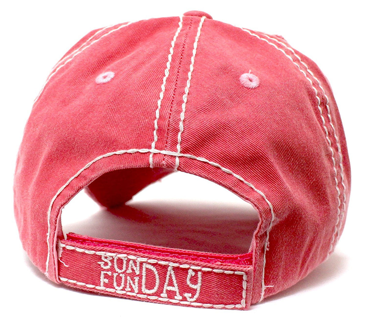 "PINK ""SUNDAY FUNDAY"" Patch Embroidery Vintage Baseball Hat - Caps 'N Vintage"